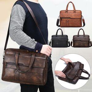 Shujin retro männer pu leder schwarzer aktenkoffer business männer handtaschen männlich vintage schulter umhängetasche große laptop handtaschen1