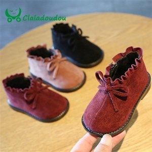 Claladoudou 12-15.5cm marca camurça sapatos bebê preto princesa vermelha princesa cute bow rebffle fanfarrão botas infantil inverno flats y201028