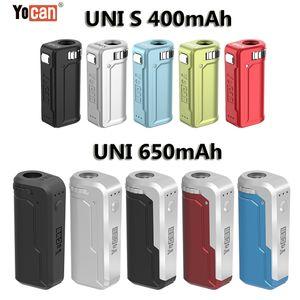 Authentic Yocan UNI Mod Yocan 핸디 배터리 E 담배 상자 Mod 500mAh 650mAh 예열 전압 조절 가능한 Vape Mod 10 가지 색상 100 % Original