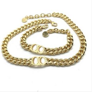 Мода Письмо из нержавеющей стали 14k Золотая кубинская ссылка цепь ожерелье браслет для мужчин и женщин вечеринки влюбленные подарок подарок хип-хоп ювелирные изделия с коробкой красный