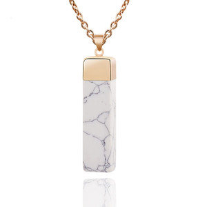 Hot Textured Grain Stone Imitation Marble Pendant Necklace Natural Stone Cube Personality Fashion Pendant Cool Summer