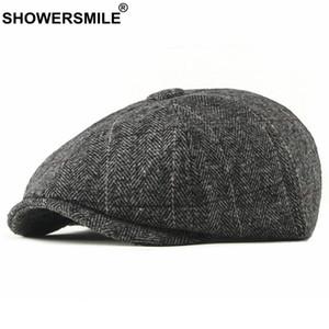 SHOWERSMILE Tweed Newsboy Cap Men Wool Herringbone Flat Cap Winter Grey Striped Male British Style Gatsby Hat Adjustable