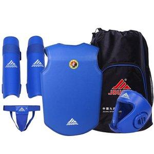 Free Combat Protection Set includes Helmet Jacket Jockstrap Shin Pad for Taekwondo Karate Thai Boxing Martial Art