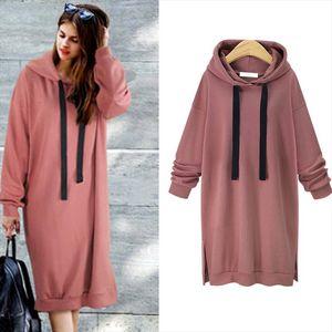 2020 Plain Hooded Sweatshirt Dress Side Split Long Hoodie Poleron Mujer Tunic Long Sleeve Lace Up Drawstring Hoodie Women Solid