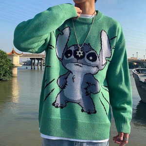 Jumper Sweater Men Winter Warm Stitch Pullover Harajuku Anime Sweat Tops Christmas 2020 Aesthetic Green Gothic Clothes Hipster