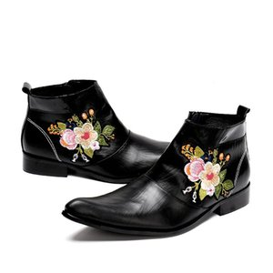 Zapatos Hombre New Western Cowboy Boot Men Black Leather Boots for Men with Embroidery Flowers Nightclub High-heeled Boots Autumn Boat