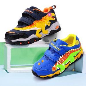 Dinoskulls Zapatos para niños Dinosaurios 3D LED Boys Sneakers Light Up Sport Tennis Kids Trainers Autumn Baby Boy Shoes 201201