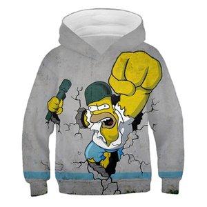 4-14 лет Дети Sweatershirt Новая зима Симпсоны Одежда Девочки Cartoon Теплый Tops пуловер осеннее пальто для мальчиков Kid Outwea