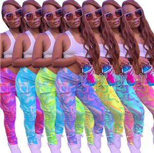 Women Leggings Fashion Multi-color Printed Tie Dye Slim Tooling Pocket Long Pants Ladies New Personalise Trousers Fall Hot Sell