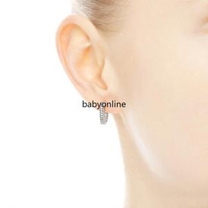 Stokta Kadınlar Erkek KÜPE Hediye FY4322 için 2021 Gelin Düğün Takı Pavé Kalp Hoop Küpeler 925 Gümüş küçük kulak halkası