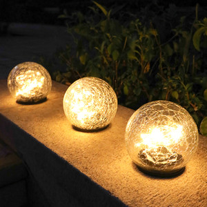 Garden Decoration Crack Glass Ball LED Ground Light Solar LED Lawn Lamp Waterproof Outdoor Landscape Patio Yard Pathway Light