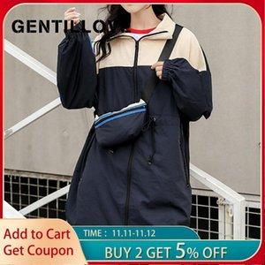 Gentillove Bayan Streetwear Patchwork Rüzgarlık Temel Gevşek Ceketler Mont 2020 Sonbahar Uzun Ceket Bayanlar Harajuku Giyim