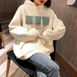 Van Gogh Letter Winter Vintage plus velvet chic Ulzzang female fun casual fashion punk bf large size loose ins hooded sweatshirt