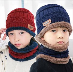 2Pcs Kids Winter Knitted Hat + Scarf Set Hot Children Warm Fleece Lining Cap for 5-14 Year Old Boys Girls