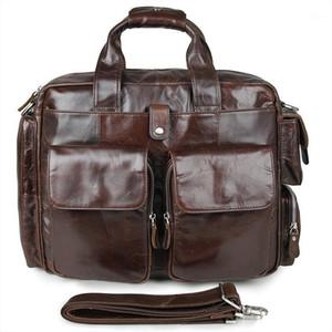 Yeni moda inek derisi erkek ticari evrak çantası gerçek deri vintage erkek messenger çanta rahat doğal cowskin iş çantası1