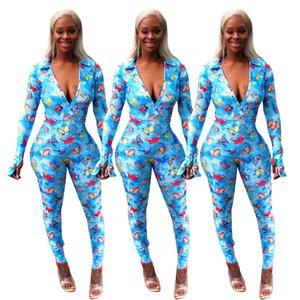 Женщины Мода Одежда Горячие Продажа женской бабочка печати Осень / Зима 2020 Комбинезон Комбинезоны Amp Rompers Новый Список