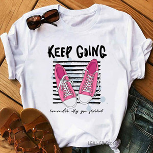 Keep going pink sports shoes printed womens white causal t shirt fashion hiker camper lover tshirt friends birthday gift tops