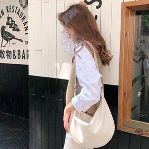 Women Canvas Messenger Bag Large Capacity Shoulder Bag Simple Zipper Semicircle Shape Cloth Purses Ladies Cotton Crossbody Bags
