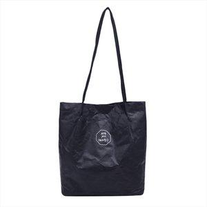 Womens Kraft Paper Splash proof Shoulder Bag Solid Color Letter Handbag Sen Ins Large capacity Literary Female Tote YJ
