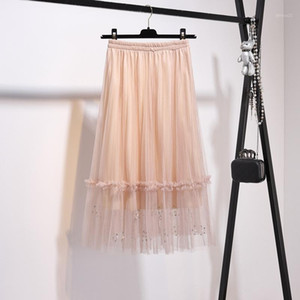 2018 Spring Summer Vintage Skirt Womens Elastic High Waist Tulle Mesh Skirt Long Pleated Tutu Women Saias Midi Faldas Jupe1