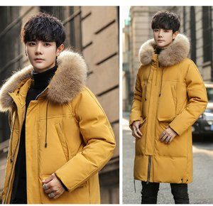 Mens Long Down Jacket Racoon Collar Thick Coat White Duck Down Parkas Hoodies Warm Winter Clothes Thick Outwear Windbreaker Big Size05