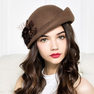 100% Wool Felt Berets Women Autumn And Winter Party Gauze Flower Formal Hat Banquet Grace Woolen Hats 201009