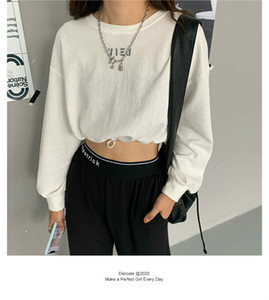 Thin letter print drawstring short sweater women 2020 autumn Korean style high waist long sleeve top