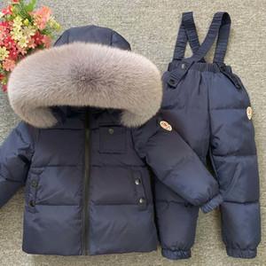 Russian Winter 2020 Children Clothing Sets Boy Girls Real Fur Hood Coat + Down Pants Children's Snowsuit Outdoor Ski Suit