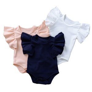 kids clothes girls boys Solid romper newborn infant ruffle Flying sleeve Jumpsuits 2021 Summer baby Climbing clothes B517