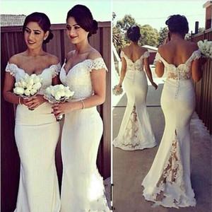 Beyaz Uzun Mermaid Nedime Elbiseler 2020 Kapalı Omuz Backless Dantel Aplikler Onur Düğün Misafir Partisi Giderleri Özel