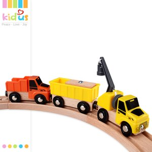 free shipping Construction vehicle combination electric train set wooden building block rail car toy children's toy car gift