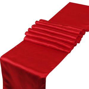 30 * 275 cm Tabla de satén Corredor de color de color sólido Cubierta de mesa Negro Rojo blanco Violeta Festival de boda Fiesta de la boda Decoración de la mesa DHB1506