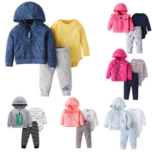 Fashion Spring Boys Set Autumn BABY Girls Long Sleeve 3PCS clothing Hooded sports set baby clothes Girls Baby Outfits Pajamas 201022