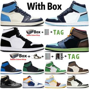 2021 En Kaliteli Factory_Footwear kutusu ile Jumpman 1 1 S Erkek Basketbol Ayakkabı Obsidiyen UNC Büküm Şanslı Yeşil Kadın Sneakers Spor Eğitmenleri