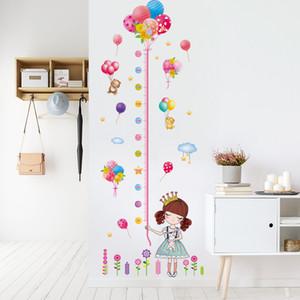 [Shijuekongjian] Medida de altura Etiquetas de la pared DIY Dibujos animados Giros Globos Calcomanías de pared para niños Habitaciones Dormitorio de bebé Decoración de la casa 201201