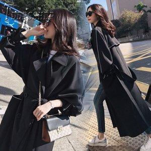Trench da donna 2021 Donne autunnali Coreano BF stile chic lungo cappotto femminile cappotto