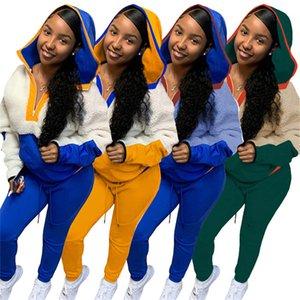 2020 S-3XL Women Tracksuit Fall Long Sleeve Fleece Hoodie Sherpa Pullovers Sweatshirt Hooded Neck Zipper Sweaters Tops Pants Outfit F102007