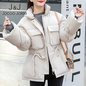 Jocoo jolee mujeres coreano parkas cortas invierno cálido chaquetas gruesas cordón cintura cintura lindas abrigos sólido dulce outwear ropa casual1