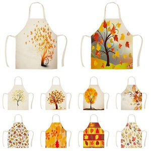Nordic Autumn Yellow Leaf Sycamore Leaves Decor Sleeveless Cotton Linen Aprons for Men Women Home Cleaning Tools WQZY592