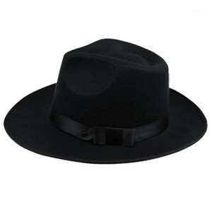 ASDS-Unisex Men Women Hats Caps Panama Fedora Trilby Straight Wide Brim Hard Felt Black1