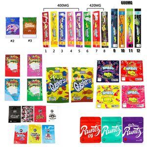 NeRds ROPE Bites Dank Gummies WONKA ERRLLI Runtz Gasco SOUR GUSHERS Cannaburst ROPE Infused Packaging Mylar Bag Pouch Package GWC3181