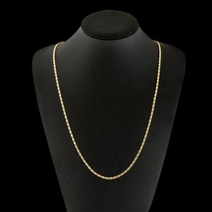 2mm Flat Chain Necklace for Women Men Hip Hop 18K Gold Plated Jewelry Pendant Christmas Jewelry Accessories 16 18 20 22 24Inch 81 O2