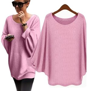 Women Knitted Sweater Women Off Shoulder Top Pullover Loose Batwing Long Sleeve Sweater Jumper Pull Femme Hiver Sweat #T2G