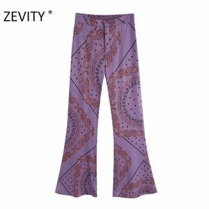 ZEVITY Women vintage cashew nuts print flare pants female leisure zipper paisley retro Trousers chic back pockets pants P920