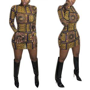 Neue Stil Gedruckt Rundhals Langarm Sexy Slim Bodycon Paket Frauen Hüftrock Kurze Kleid