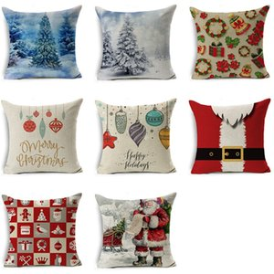 Christmas Cushion cover 45*45 Pillowcase sofa Cushions Pillow cases Cotton Linen pillow covers Home Decor Xmas Decor for home120pcs T1I2625