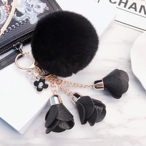 Fashion Fluffy Puff Ball leather Rose Flower Pompom Keychain car Key Chain Ring for Women handBag Jewelry 2020