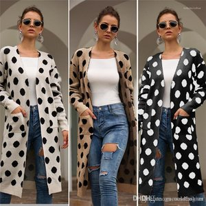 Dot Jacken Frühling und Herbst Designer Female mit V-Ausschnitt Mantel-beiläufige lange Hülsen-Damen-Kleidung mit Tasche Damen Designer Polka