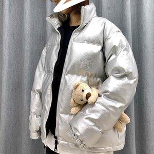Pe Collar e senhora Parka Men Men Popular Moda algodão acolchoado Clothes Tamanho Grande PU amantes frouxamente Jaqueta de couro
