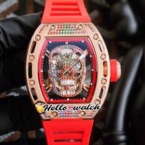 Top Nuova Versione RM052 RM52 052 diamante cranio di scheletro Dial cassa del diamante Miyota Automatic Watch Mens oro rosa Fancy Red Rubber Hello_Watch
